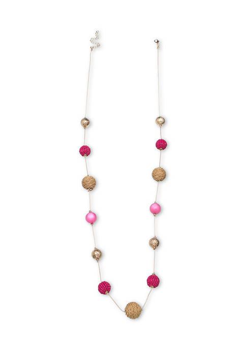 Lab Created Raffia Long Necklace