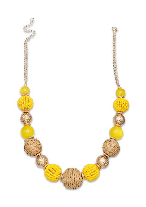 Lab Created Raffia Short Necklace