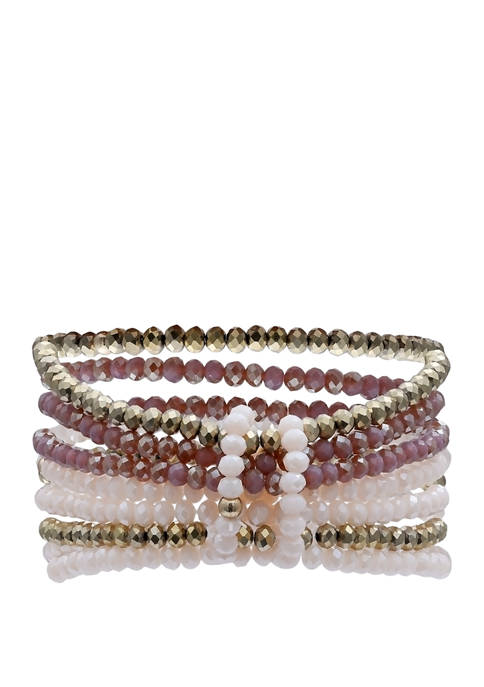 Jules B Lab Created Faceted Glass Bead Stretch
