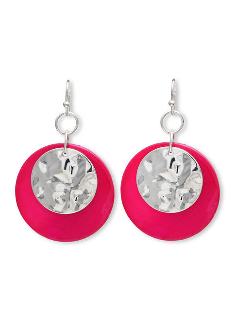 Lab Created Shell Disc Drop Earrings