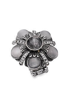 Jules B Silver-Tone Crystal Flower Cateye Stretch Ring