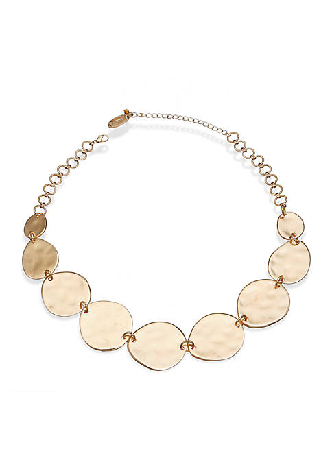 Jules B Gold-Tone Hammered Disc Frontal Necklace