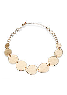 Gold-Tone Hammered Disc Frontal Necklace