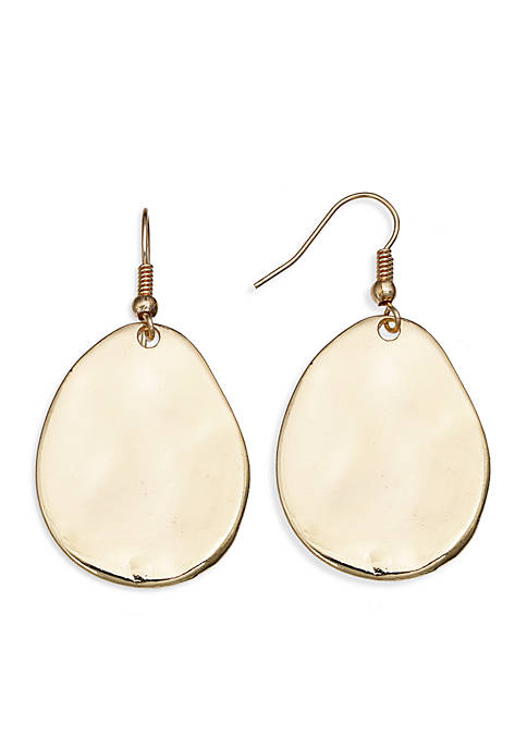 Jules B Gold Tone Hammered Disc Drop Earrings