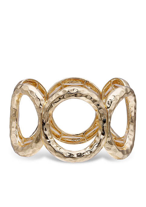 Jules B Gold-Tone Hammered Open Circle Bracelet