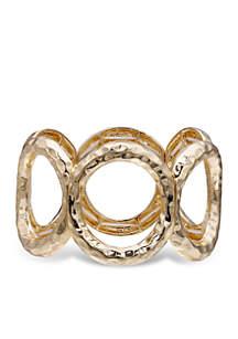 Gold-Tone Hammered Open Circle Bracelet