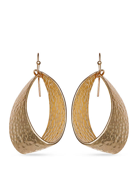 Jules B Gold-Tone Hammered Oval Drop Earrings