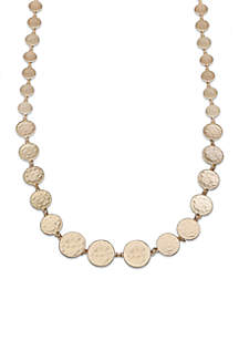 Gold-Tone Graduated Hammered Disc Long Necklace