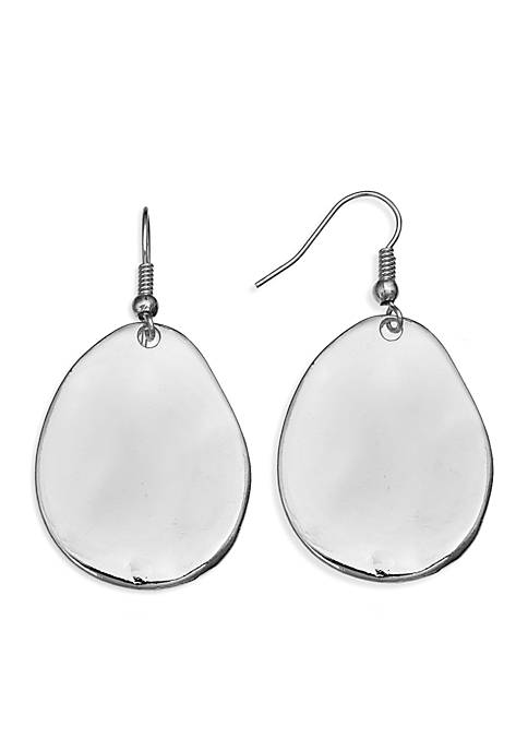 Jules B Silver-Tone Hammered Drop Earrings