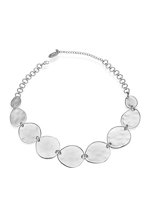 Silver-Tone Hammered Disc Necklace