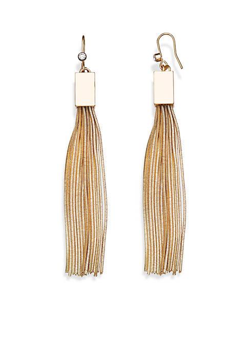 Jules B Gold Tone Crystal Tassel Drop Earrings