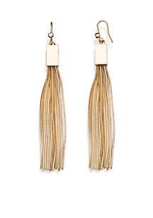 Jules B Gold-Tone Crystal Tassel Drop Earrings