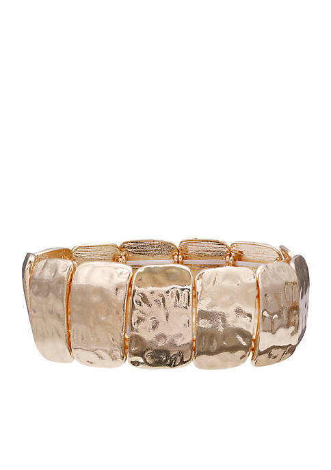 Jules B Gold-Tone Square Hammered Disc Stretch Bracelet