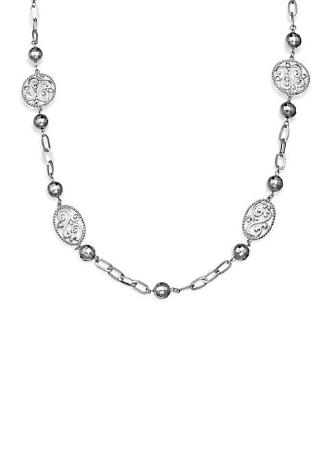 Jules B Silver-Tone Screen Scroll Necklace