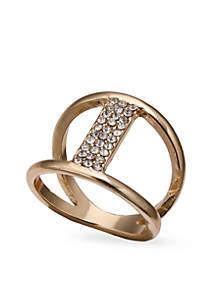 Gold-Tone Crystal Bar Ring