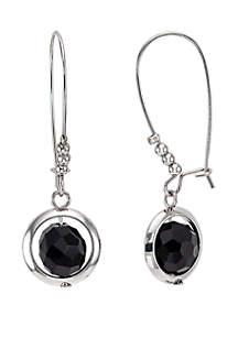 Round Framed Stone Drop Earrings