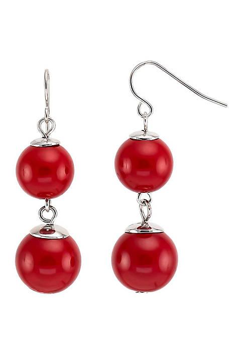 Double Bead Drop Earrings