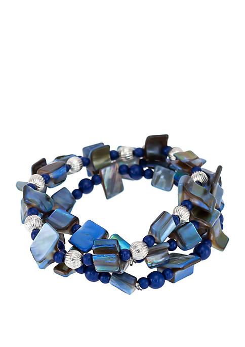 3 Row Shell Chip Stretch Bracelet