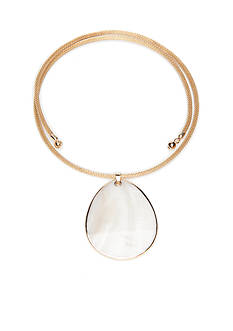 Kim Rogers® Gold-Tone Runway Shells Teardrop White Collar Necklace
