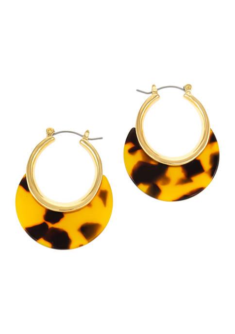 Gold-Tone Tortoise Crescent Hoop Earrings