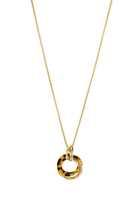 Long Gold-Tone Interlocking Ring Pendant Necklace