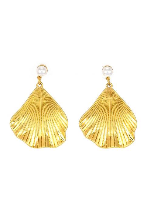 Gold Tone Pearl Seashell Drop Earrings