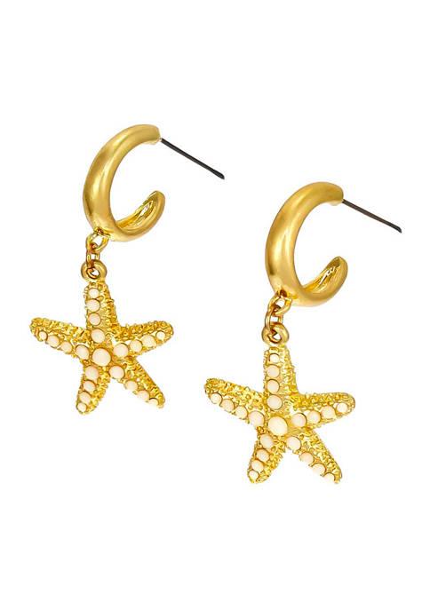 Gold Tone White Bead Starfish Hoop Earrings