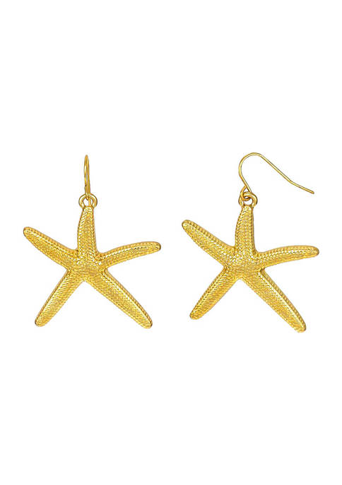 Gold Tone Starfish Drop Earrings