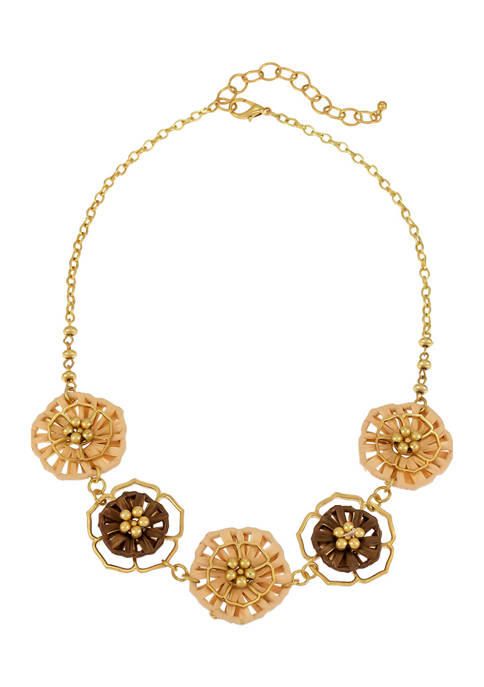Gold Tone 18 Inch + 3 Inch 1 Row Short 5 Part Flower Frontal Necklace