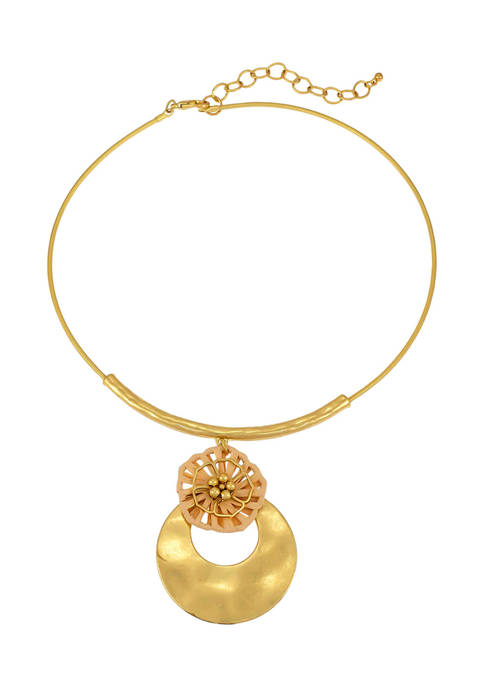 Gold Tone 18 Inch + 3 Inch Neck Coil Natural Woven Flower Open Crescent Disc Double Pendant Necklace