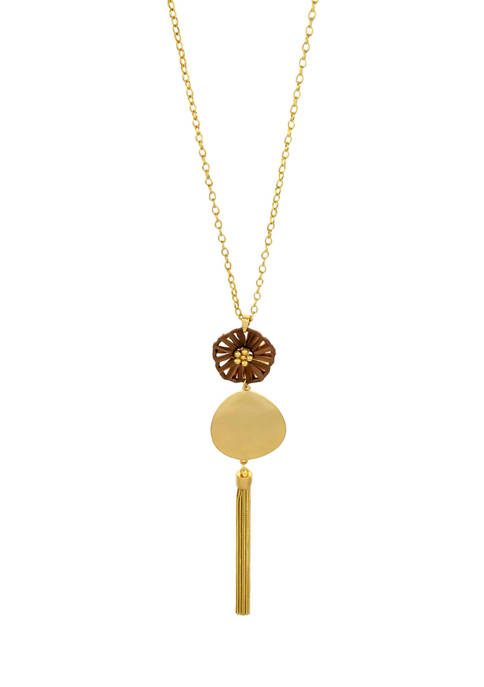 Gold Tone 32 Inch + 3 Inch 1 Row Long Chain with Brown Woven Flower and Organic Gold Tone Disc Double Pendant & Chain Tassel Necklace