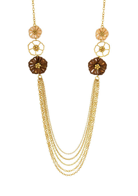 Gold Tone 36 Inch + 3 Inch Long Necklace with Multi Row Chain Swag and Flower Side Station