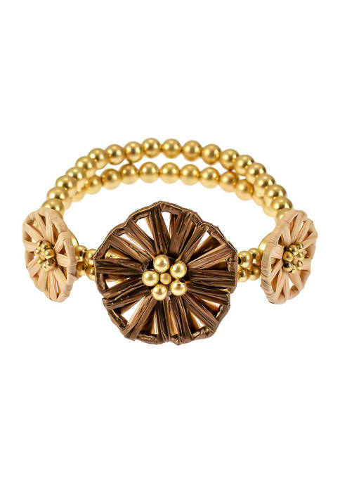Gold Tone Woven Flower Frontal Stretch Bracelet with 2 Row Bead Back