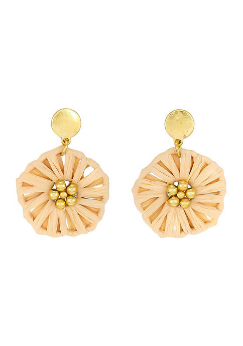 Gold Tone Natural Flower Drop Earrings on Small Gold Post