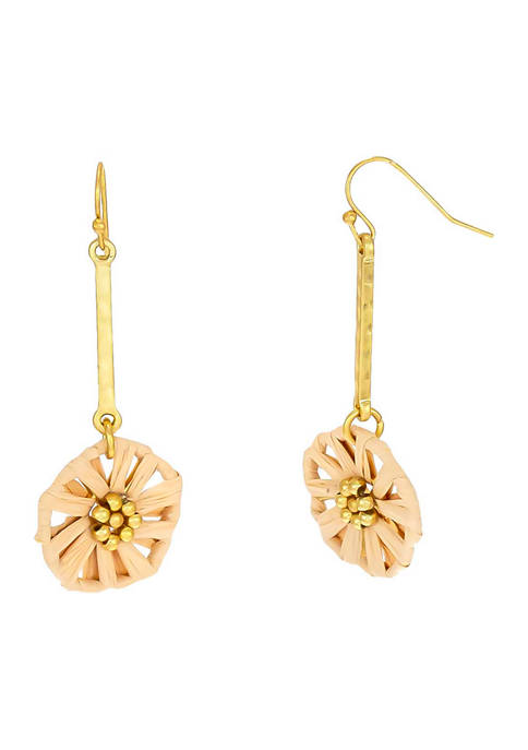 Gold Tone Linear Earrings with Natural Woven Flower Drop on French Wire
