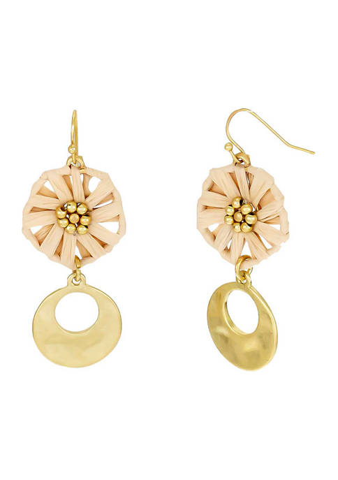 Gold Tone Natural Woven Flower and Open Disc Double Drop Earrings on French Wire
