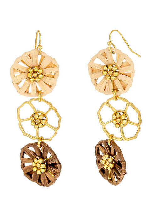 Gold Tone Open and Natural Woven Flower Triple Drop Earrings on French Wire