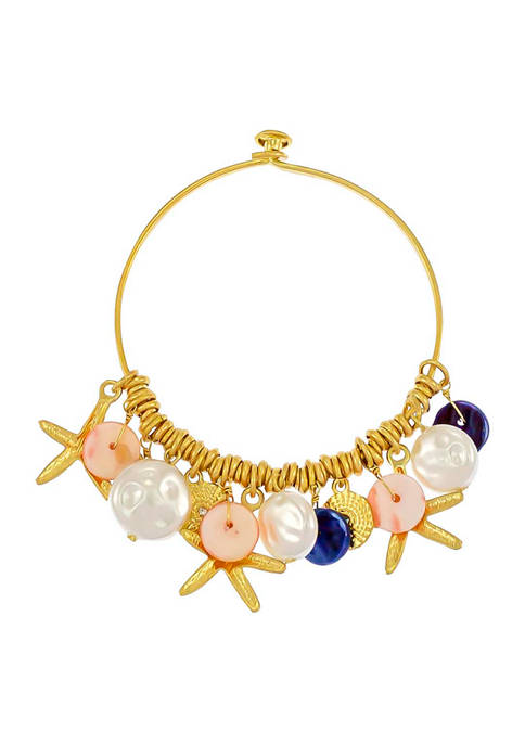 Gold Tone Bangle with Charm Drops
