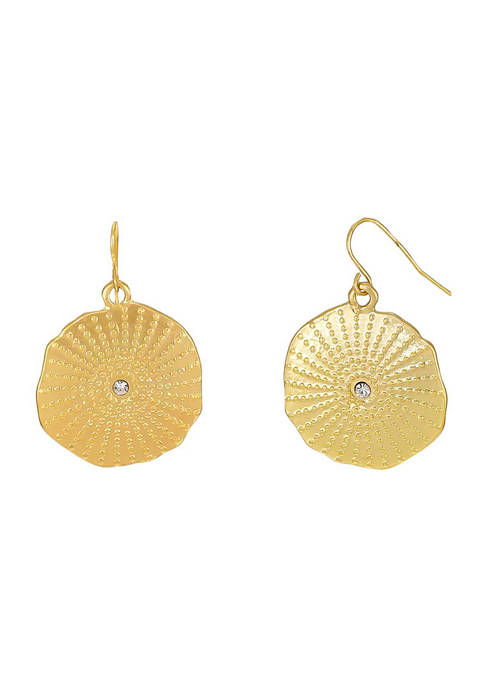 Gold Tone Textured Disc with Crystal Center Drop Earrings