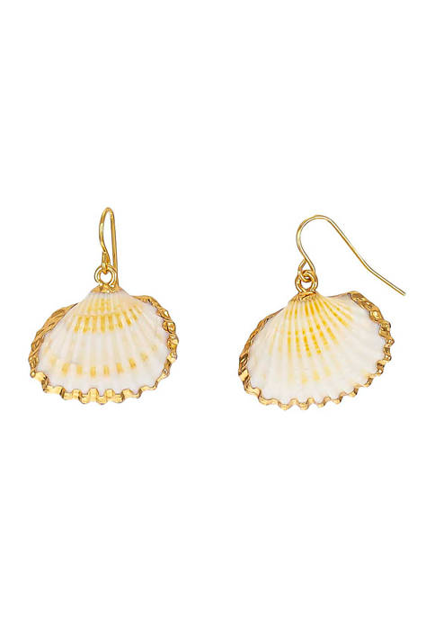 Gold Tone White Shell Drop Earrings with Gold Rim