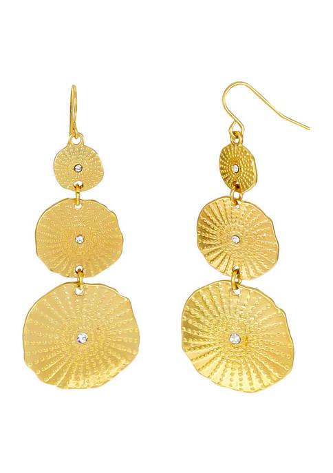 Kim Rogers® Gold Tone Triple Disc Drop Earrings