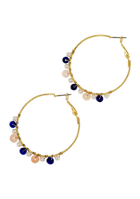 Gold Tone Hoop Earrings with Bead Drop