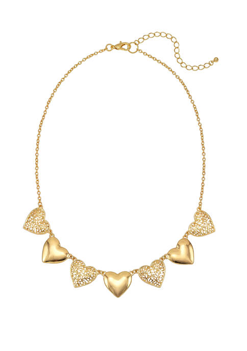 Kim Rogers® Gold Tone 7 Heart Necklace