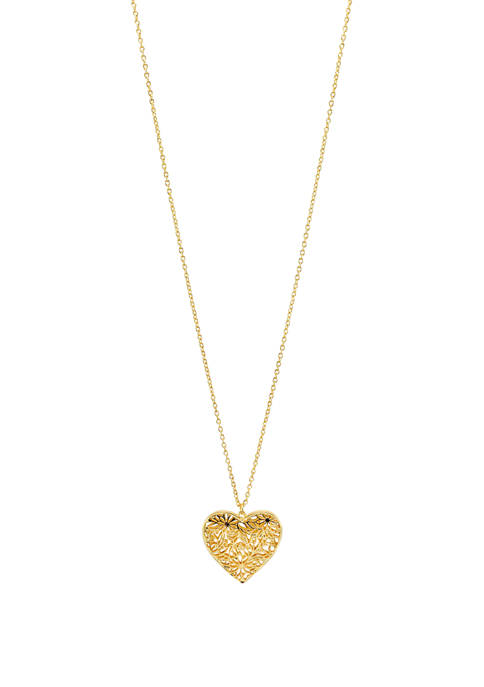 Kim Rogers® Long Gold Tone Heart Pendant Necklace