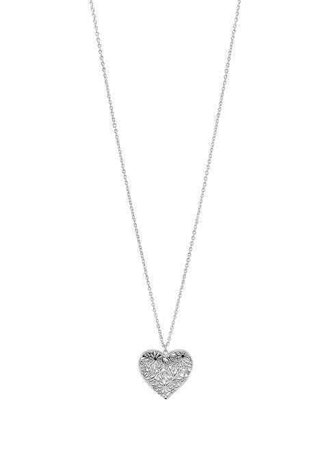 Kim Rogers® Long Silver Tone Heart Pendant Necklace