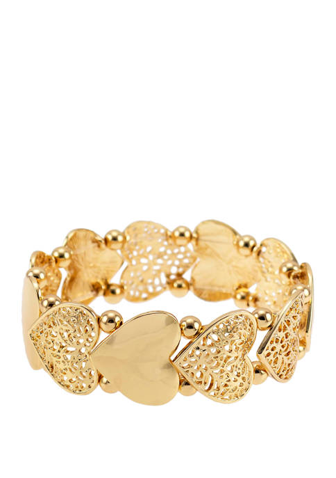 Kim Rogers® Gold Tone Heart Stretch Bracelet