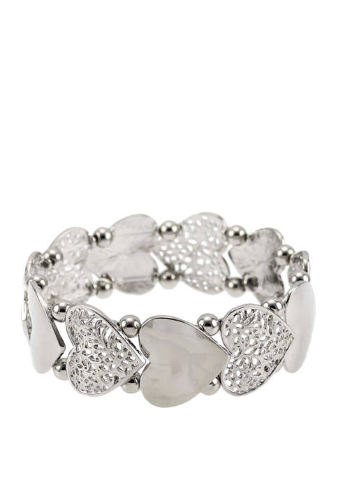 Kim Rogers® Silver Heart Stretch Bracelet