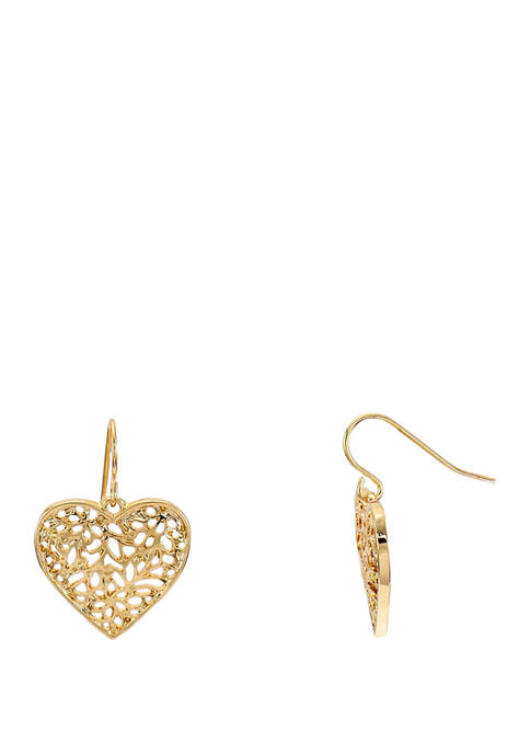 Kim Rogers® Gold Tone Filigree Heart Drop Earrings