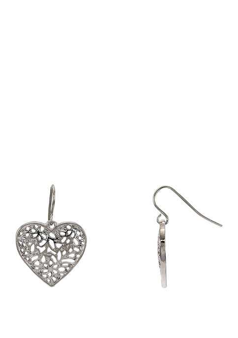 Kim Rogers® Silver Filigree Heart Drop Earrings