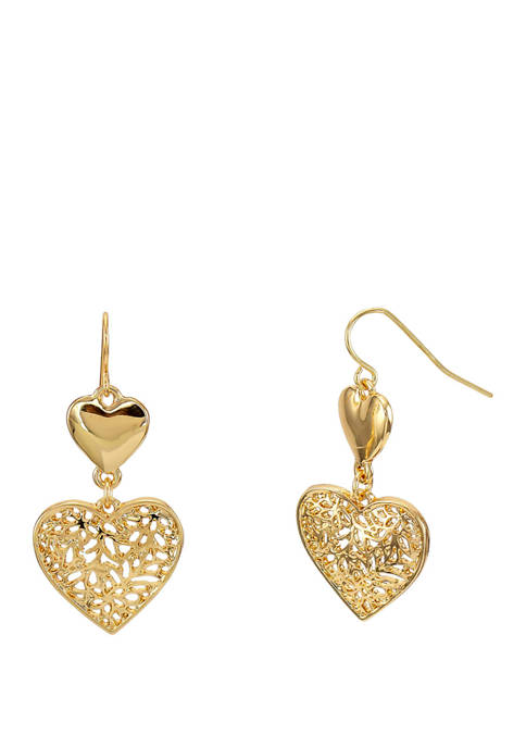 Kim Rogers® Gold Double Heart Drop Earrings